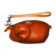 """Etui ART """"Pomarańczowy prosiaczek"""" ze skóry naturalnej"""