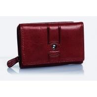 Nieduża damska portmonetka Pierre Cardin bordowa, bardzo funkcjonalna