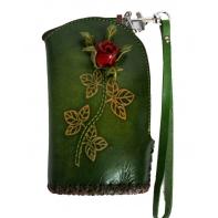 """Etui ART """"różyczka"""" ze skóry naturalnej - zielony"""
