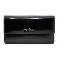 Bardzo duży damski portfel Pierre Cardin czarny lakierowany, nowy design