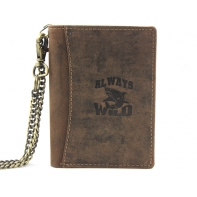Super wyposażony portfel męski z łańcuchem Always Wild ze skóry nubukowej - brązowy