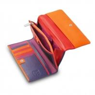 Skórzany duży portfel damski marki DuDu®, fuksja + czerwony