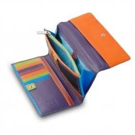 Skórzany kolorowy duży portfel damski marki DuDu®, fioletowy + kolorowy środek