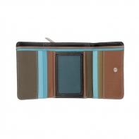 Skórzany mały kolorowy portfel damski marki DuDu®, ciemny brąz + niebieski