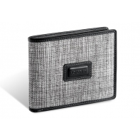 Męski poziomy skórzany portfel Valentini, czarno szary
