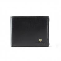 Poziomy portfel męski marki Peterson, czarny z czerwonymi wstawkami