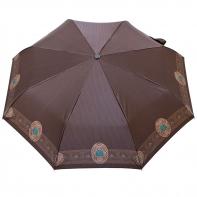 Satynowa automatyczna parasolka damska marki Parasol, brązowa