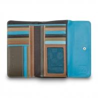 Skórzany duży portfel damski marki DuDu®, ciemny brąz, błękitny + inne
