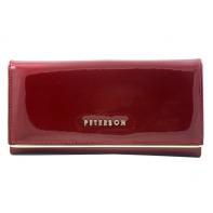 Długi portfel damski Peterson, lakierowany czerwony