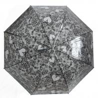 Głęboka przezroczysta parasolka damska, koronka