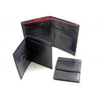 Portfel męski marki Peterson 3w1 świetnie wyposażony, czarny z czerwoną wstawką