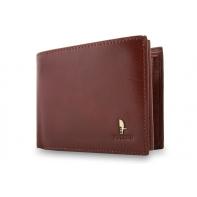 Męski poziomy portfel Puccini P20438 w kolorze brązowym z bogatym wyposażeniem