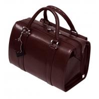 Mini kuferek damski, bardzo pojemny, skóra naturalna, czekoladowy