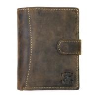 Super wyposażony portfel męski Always Wild N4L-2 ze skóry nubukowej z zapięciem- brązowy