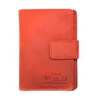 Praktyczny portfel damski Always Wild ze skóry nubukowej z zapięciem w kolorze czerwonym