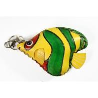 """Etui ART """"żółto zielona rybka"""" ze skóry naturalnej"""