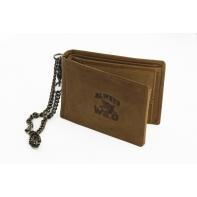 Poziomy portfel męski z łańcuchem Always Wild ze skóry nubukowej - jasny brąz