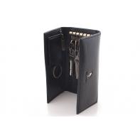 Długie etui na klucze Puccini P-1626L, kolor czarny, skóra