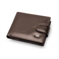 Bardzo mały, skórzany portfel Nicolas z praktycznym zapięciem, brązowy