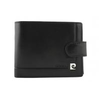 Męski portfel z zapięciem, czarny, skórzany, Pierre Cardin