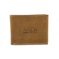 Poziomy portfel męski Always Wild ze skóry nubukowej - jasny brąz