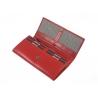 Damski duży portfel Rovicky z kryształkami , skórzany, czerwony