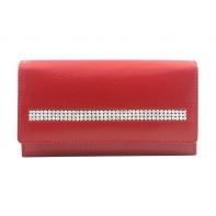 Damski portfel Rovicky z kryształkami , skórzany, czerwony