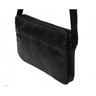 Skórzana torba na ramię z wyjmowaną kieszenią na laptopa G-502 czarna