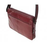 Skórzana torba na ramię z wyjmowaną kieszenią na laptopa G-502 bordowa