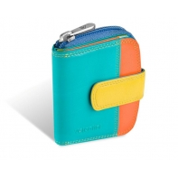 Maleńki kolorowy portfel damski Valentini, zielony, pomarańczowy, niebieski + inne