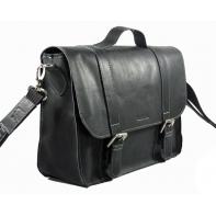 Skórzana torba z klapą na ramię, czarna