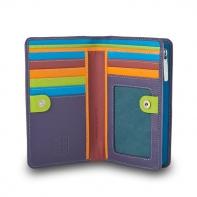 Skórzany kolorowy portfel damski marki DuDu®, fioletowy + kolorowy środek