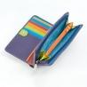 Skórzany portfel damski marki DuDu®, fioletowy + kolorowy środek