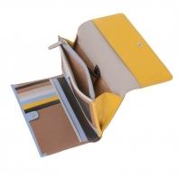 Skórzany duży portfel damski marki DuDu®, beżowy + żółty