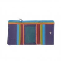 Skórzany mały portfel damski marki DuDu®, fioletowy + kolorowy środek