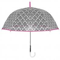 Głęboka przezroczysta parasolka z ornamentem, różowa lamówka