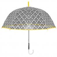 Głęboka przezroczysta parasolka z ornamentem, żółta lamówka