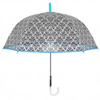 Głęboka przezroczysta parasolka z ornamentem, niebieska lamówka