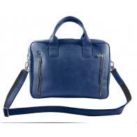 Skórzana torba na ramię na laptopa, A4, granatowa