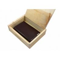 Ekskluzywny portfel męski Valentini, skórzany, brąz, drewniane pudełko