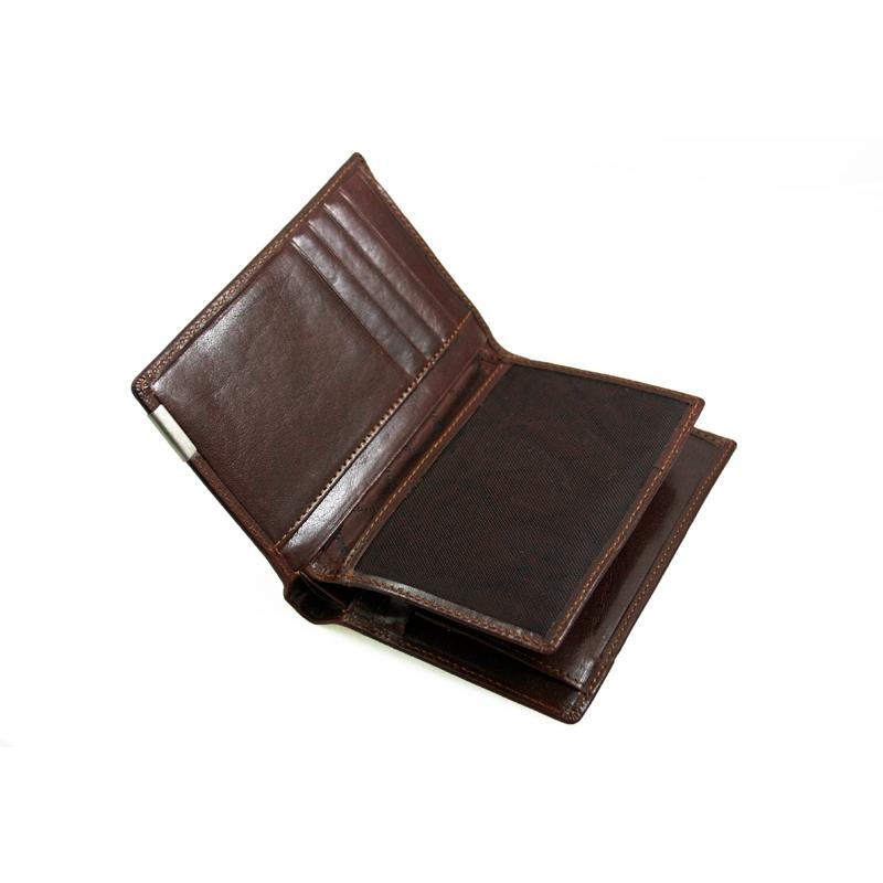 ba1e8304a18fc Ekskluzywny portfel męski Valentini, skórzany, brąz, drewniane pudełko