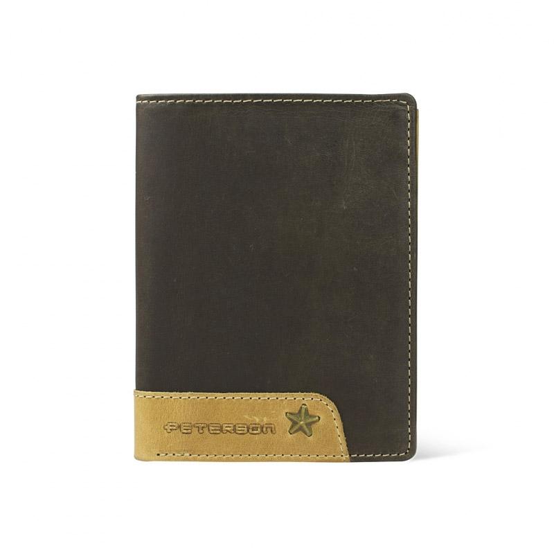61966ab28cbcc Pionowy portfel męski marki Peterson z nubuku