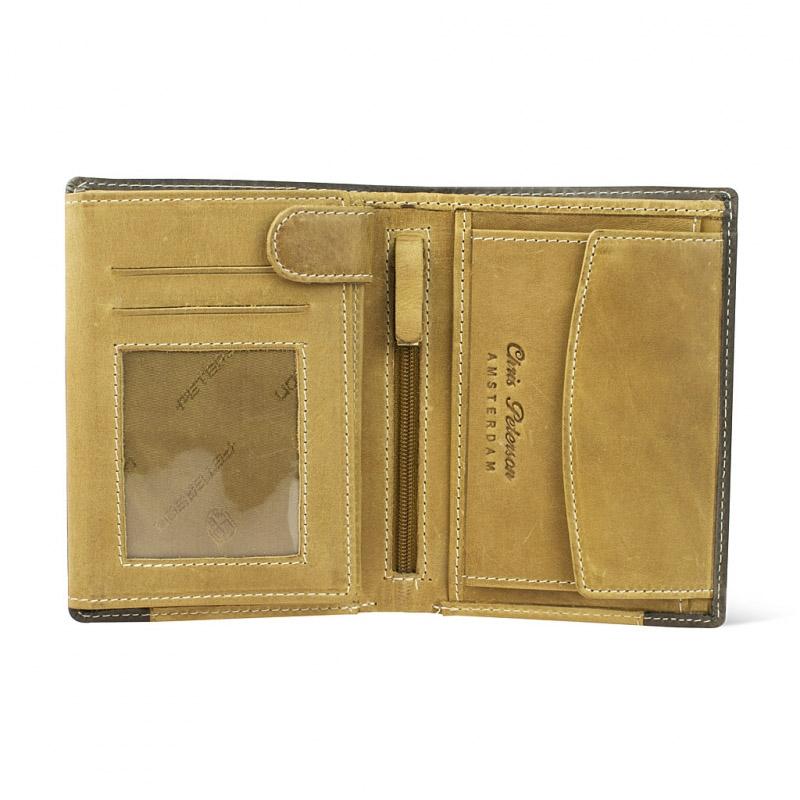 d0fe24cb32545 Pionowy portfel męski marki Peterson z nubuku