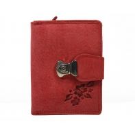 Super praktyczny portfel Always Wild ze skóry nubukowej, czerwony