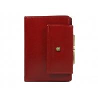 Skórzany portfel damski Peterson z zapięciem, czerwony