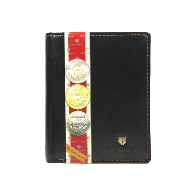 d316cff8fb7ad4 Pionowy skórzany portfel męski marki Peterson, brązowy
