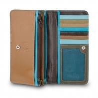 Skórzany portfel damski marki DuDu®, ciemny brąz, błękitny + inne