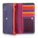 Skórzany portfel damski DuDu®, fuksja + pomarańczowy
