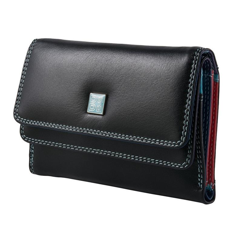 7e0c05095ab9f Skórzany mały portfel damski marki DuDu®, czarny + kolorowy środek