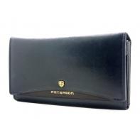 Klasyczny portfel damski Peterson, niebieski z czarną wstawką